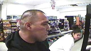 A close-up surveillance image of the make suspect. (Source: Silent Witness)