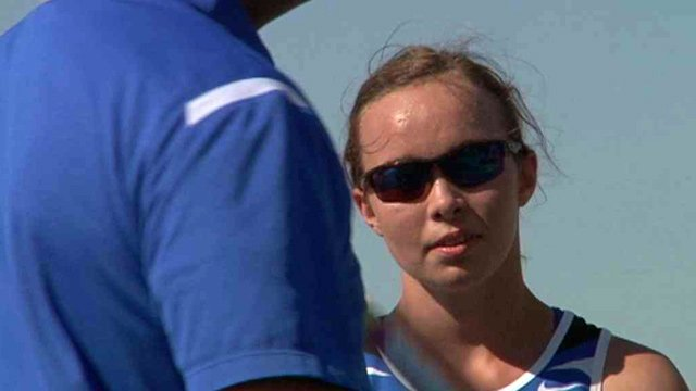 Aria Ottmueller is legally blind, yet has qualified for the state track and field championships in the pole vault. (Source: CBS 5 News)