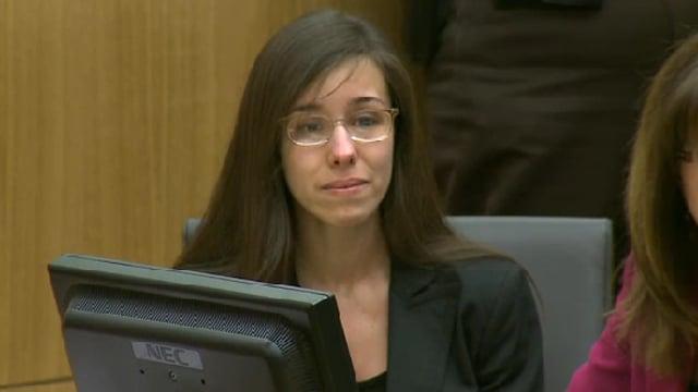 Jodi Arias as guilty verdict was read on Wednesday. (Source: KPHO-TV)