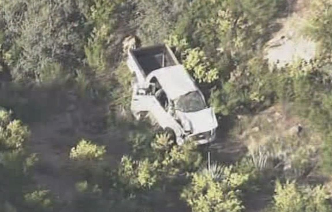 Ritchie was in this white truck when the driver lost control and plummeted 400 feet off of a cliff.