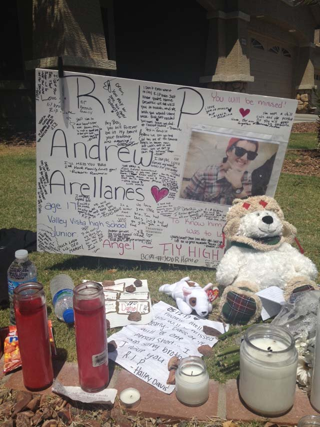A memorial was set up for the teen. (Source: CBS 5 News)