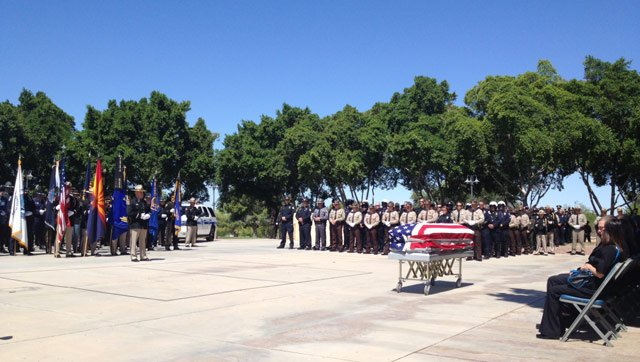 There was a large turnout of DPS and other peace officers for the services. (Source: KSWT-TV)