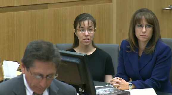 Jodi Arias react as two of Travis Alexander's siblings testify before the jury. (Source: CBS 5 News)