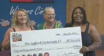 3 of the 15 lucky people from Safford who claimed the second-prize winning ticket in record-breaking Powerball. (Source: CBS 5 News)