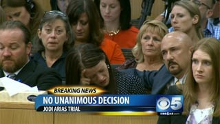The Travis Alexander family reacts after hearing the verdict the jurors were deadlocked. (Source: CBS 5 News)