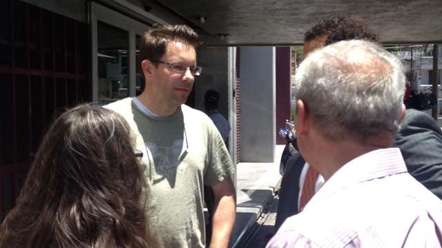 Yanira Maldonado's husband speaks outside of courthouse Wednesday. (Source: CBS 5 News)