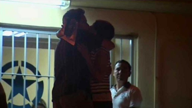 Yanira and Gary Maldonado embrace after she was released from a Mexican jail Thursday night. (Source: CBS 5 News)