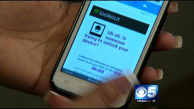 """Lookout"" phone app (Source: CBS 5 News)"