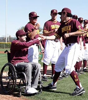 Hahn was paralyzed from the chest down after sliding head-first while trying to steal a base against New Mexico on Feb. 20, 2011. (Source: ASU)