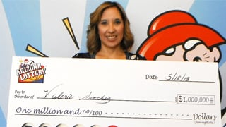 Valerie Sanchez claims her $1 million prize at the Arizona Lottery office. (Source: Arizona Lottery)
