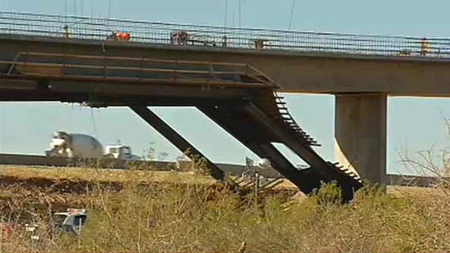A construction worker was killed when a portion of this bridge collapsed in far east Mesa on Wednesday morning. (Source: CBS 5 News)