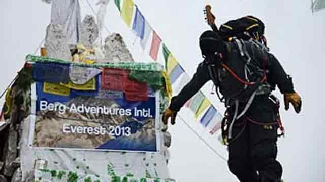 Firefighter Todd Pendleton summits Mt. Everest with Alice Cooper guitar. (Source: Todd Pendleton)
