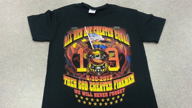 Xtreme Apparel has raised about $70,000 for the families of the victims of the Yarnell Hill Fire by selling this commemorative T-shirt. Each shirt costs $10 and the company said it hopes to break $100,000 with a new order. (Source: CBS 5 News)