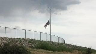 Flag at half-staff outside Embry-Riddle Aeronautical University in Prescott. (Source: Sean Gates, cbs5az.com)