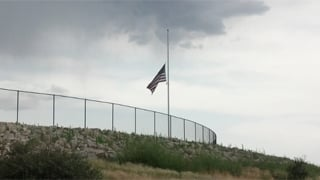 Flag at half-staff outside Embry-Riddle Aeronautical University in Prescott. (Source: Sean Gates, cbs5az.com)