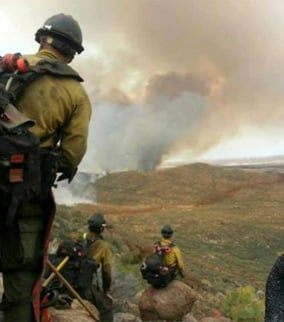 This photo was the last photo Andrew Ashcraft texted to his wife before he and 18 other Hotshots were overcome by the Yarnell Hill Fire. (Source: Facebook)