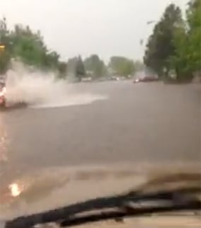 Motorists found some streets flooded. (Source: Tanner Laird)