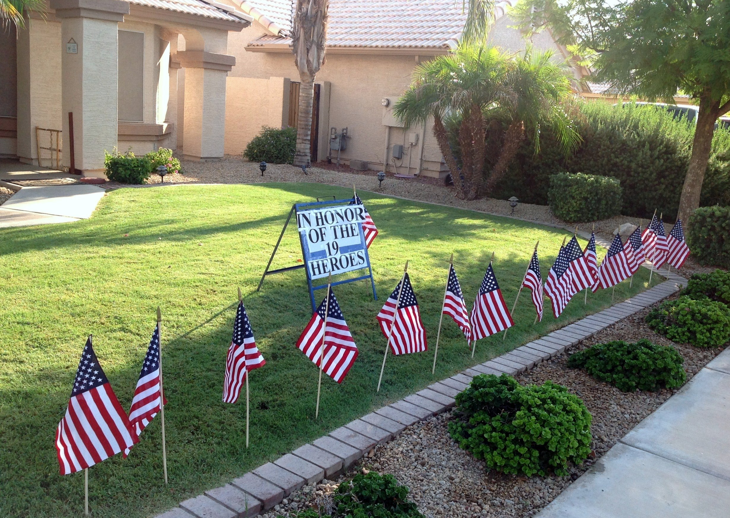 This tribute to the firefighters was set up at 1670 E. San Tan St. in Chandler.
