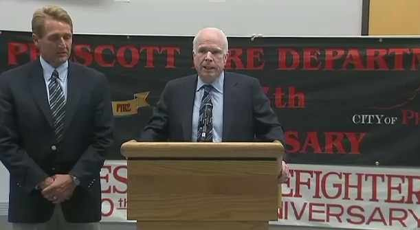 Sen. Jeff Flake (left) and Sen. John McCain at a news conference Friday at Prescott High School (Source: CBS 5 News)