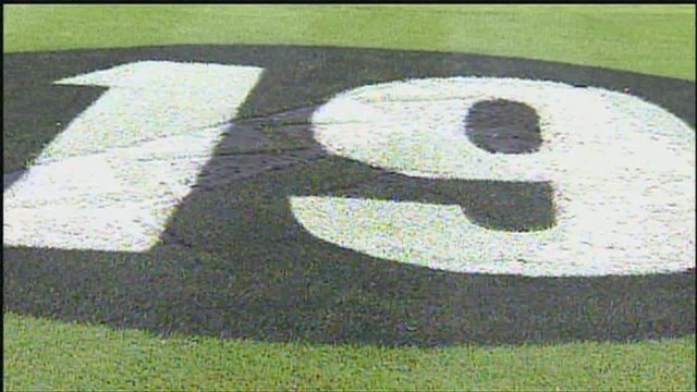 "A ""19"" was painted on Chase Field in honor of the 19 fallen firefighters (Source: CBS 5 News)"
