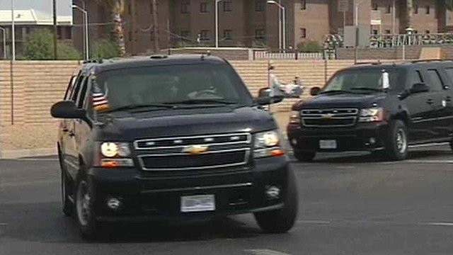 A motorcade with U.S. Vice President Joe Biden and his wife, Jill, leaves from Luke Air Force Base for Prescott Valley and a memorial for the 19 firefighters who died in the Yarnell Hill Fire. (Source: CBS 5 News)