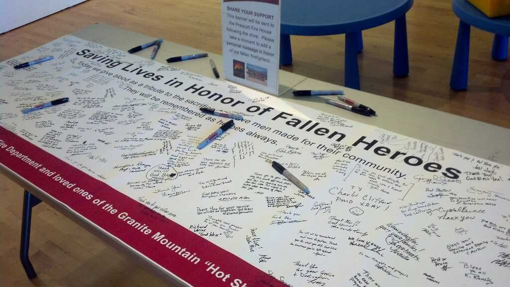 A giant banner was filled with messages from donors to be given to Prescott Fire Department (Source: Christina Batson, CBS 5 News)