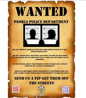 """Wanted"" poster with QR code. (Source: Peoria Police Department)"