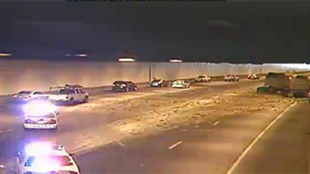 Watermelon spill inside the Deck Park Tunnel in Phoenix. (Source: ADOT camera)