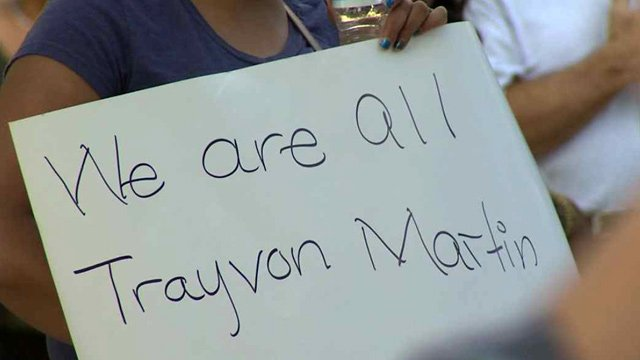 More than 100 people in Phoenix on Sunday called for the U.S. Justice Department to review the Trayvon Martin case. (Source: CBS 5 News)
