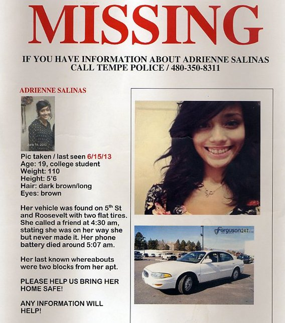 Poster: Help finding Adrienne Salinas