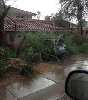 Storm damage from Monday's microburst in Ahwatukee (Source: CBS 5 News)
