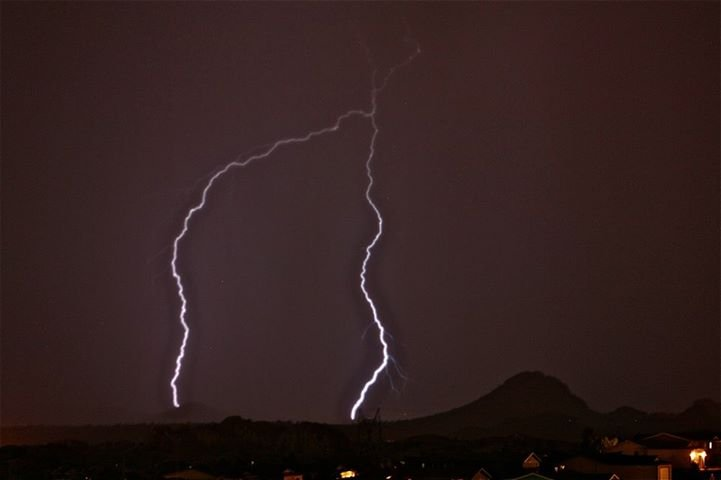 Lightning over Mingus Mountain seen from Prescott. (Source: Catherine Koon, viewer-submission)