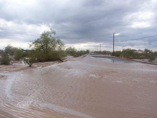 Flooding in the community of Maricopa Sunday morning. (Source: Dixie Hutto, viewer-submission)