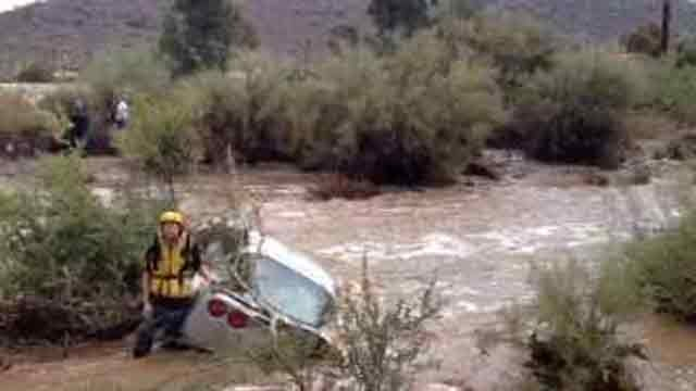 Motorist trapped at Shea and 64th Street. (Source: Phoenix Fire Department)