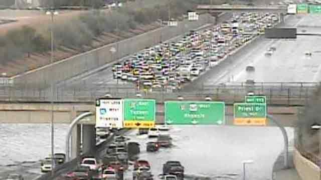 U.S. 60 in both directions was shut down between Kyrene and Mill roads in Tempe. (Source: CBS 5 News)