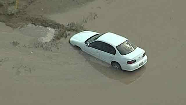 Flooding in Eloy Monday afternoon. (Source: CBS 5 News)