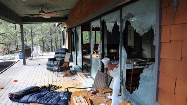 Some of the broken windows Kincaid allegedly shot out. (Source: Coconino County Sheriff's Office)