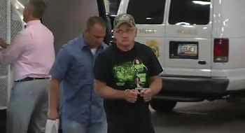 David Simpson arrives at Maricopa County Jail Wednesday evening. (Source: KPHO-TV)