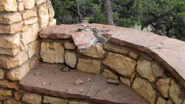 Lightning strike on rock wall of overlook.  It's believed the victim was standing on the rock seat beneath it. (Source: Coconino County Sheriff's Office)