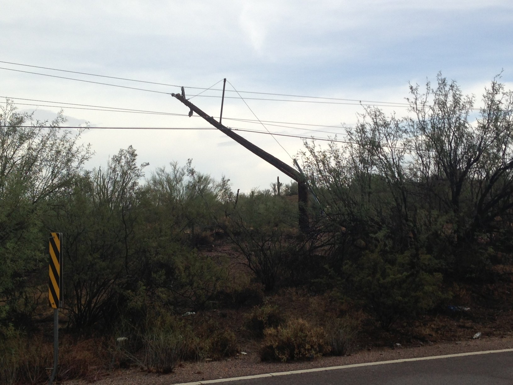 The storm knocked down power lines in Apache Junction on Friday afternoon. (Source: CBS 5 News)