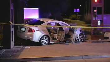 The victim's car crashed. (Source: CBS 5 News)