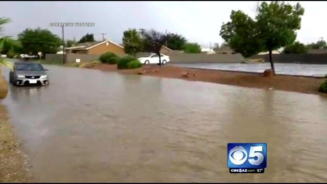 Roadways flooded in Kingman Saturday evening. (Source: YouTube)