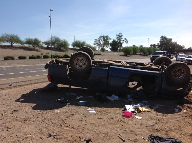 Fatal I-10 rollover at 67th Avenue. (Source: CBS 5 News)