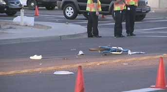 This is one of the accident scenes. A teen was hit in Peoria. (Source: CBS 5 News)