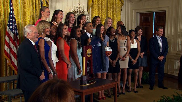 Members of the University of Connecticut women's basketball team enjoy a light-hearted moment with President Barack Obama following their visit to the White House Thursday, August 1, 2013. (Source: CNN)