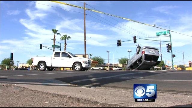Crash at Broadway and Central Saturday afternoon. (Source: CBS 5 News)