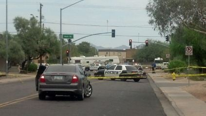 This is the shooting scene near Williams and Main Street. (Source: Christina Batson, cbs5az.com)