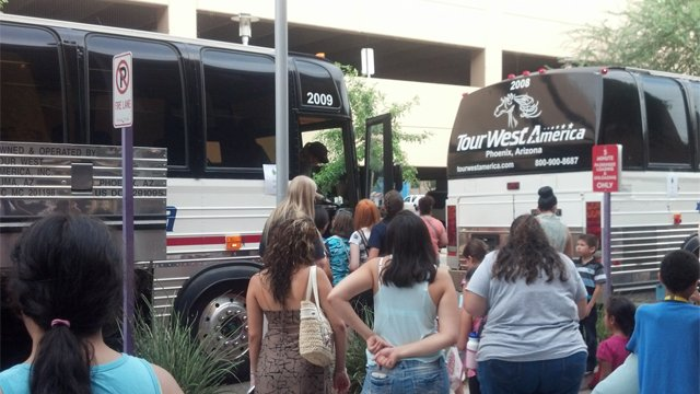 Kids diagnosed with cancer board buses in Phoenix for Camp Rainbow in Prescott. (Source: Christina Batson, cbs5az.com)