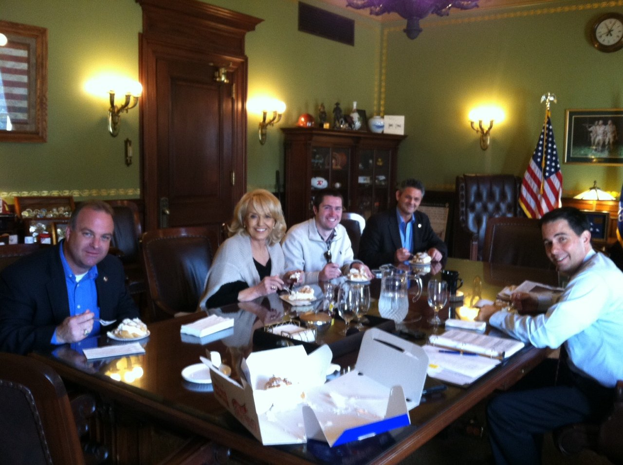 Arizona Gov. Jan Brewer at the Wisconsin State Capitol in Madison.