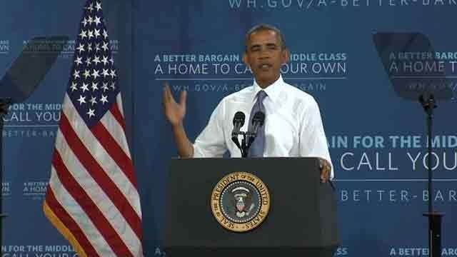 President Barack Obama addresses the crowd at Desert Vista High School in Ahwatukee. (Source: CBS 5 News)
